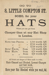 Advert For A Milliner's Store